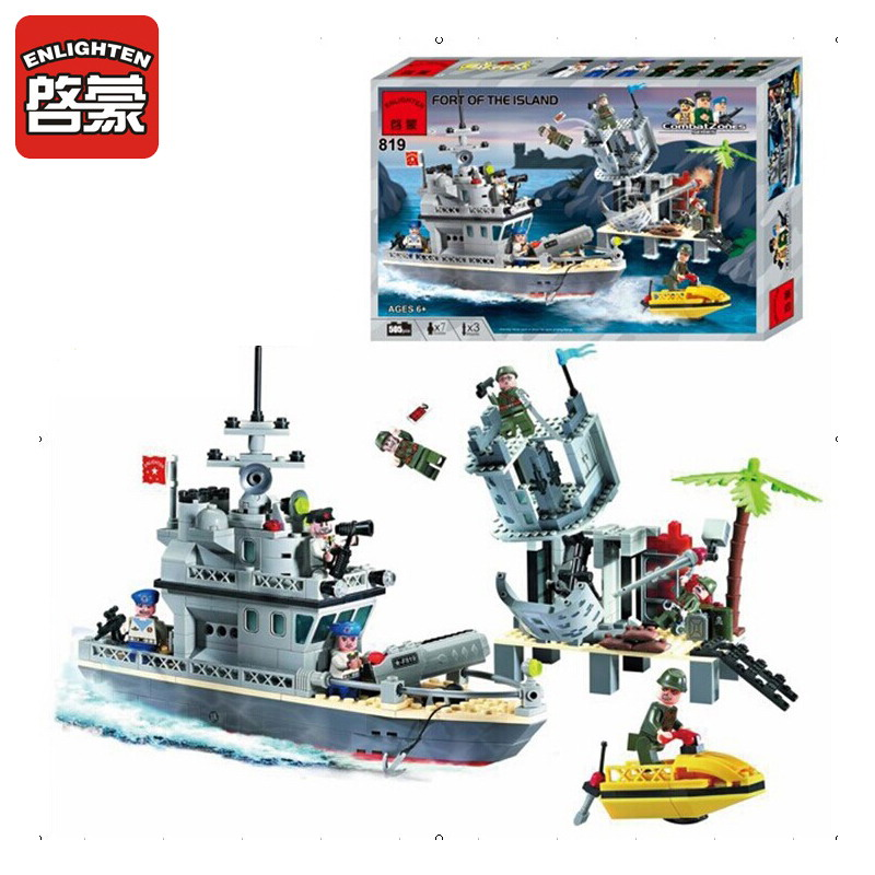 ENLIGHTEN 819 Military Ship Fort Of The Island Figure Blocks Educational Construction Bricks Toys For Children Compatible Legoe the fort cemetery at heirakonpolis