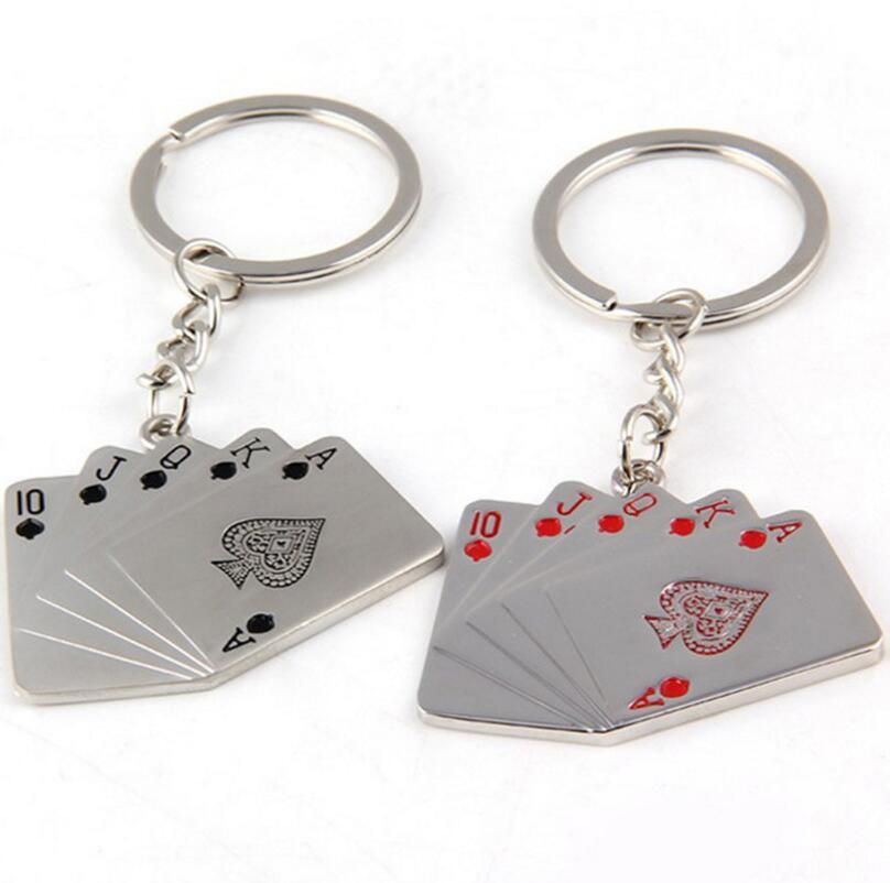 2 Pcs Creative Poker Key Ring Fashion Gift Car Key Metal Chain Key Ring Holder Birthday Gift Free Shipping