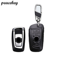 Peacekey Car Key Case ring For BMW Genuine Leather Key Case For BMW F30 F20 X1 X3 X5 E30 E34 E90 E60 E36 E39 E4 Key Cover Holder