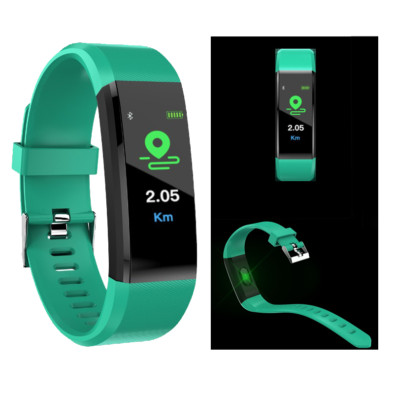 115 Plus Heart Rate Blood Pressure Monitor Smart Wristband Bluetooth Calorie Tracker Fitness Bracelet For Women Pedometer