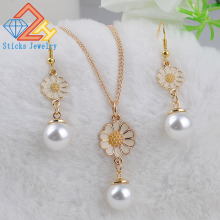 Charm Gold rose Simulated Pearl Pendant Necklace Set Long Chain Necklace Jewelry Wedding Necklace Accessories fenasy 18k yellow gold crown pendant pearl necklace women wedding pearl jewelry chain necklace 18k gold necklace for love gift