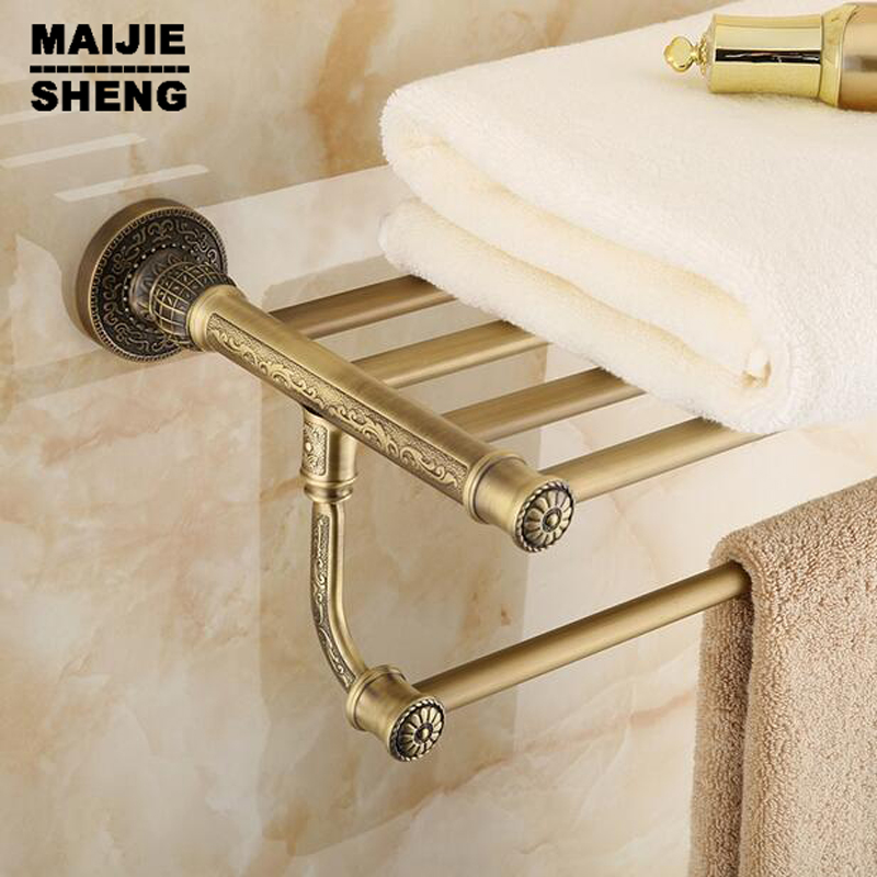 Active bath towel rack bathroom cloth holder Antique Double towel shelf Whole brass towel shelf Antique brass bath towel rack aluminum foldable antique brass bath towel rack active bathroom towel holder double towel shelf with hooks bathroom accessories