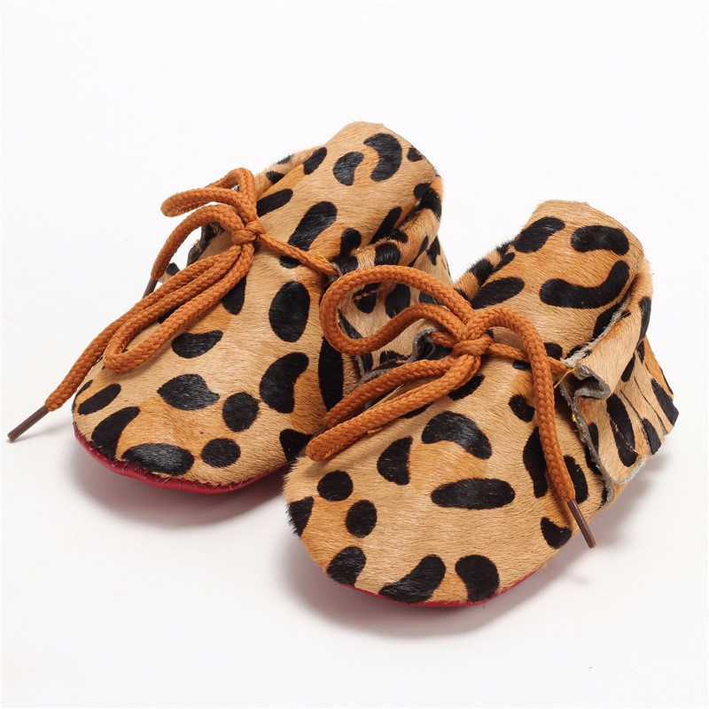 Genuine Leather Baby Boys Moccasins Shoes Soft soled lace-up shoes Crib Babe girls fashion Leopard Horsehair Newborn walkers