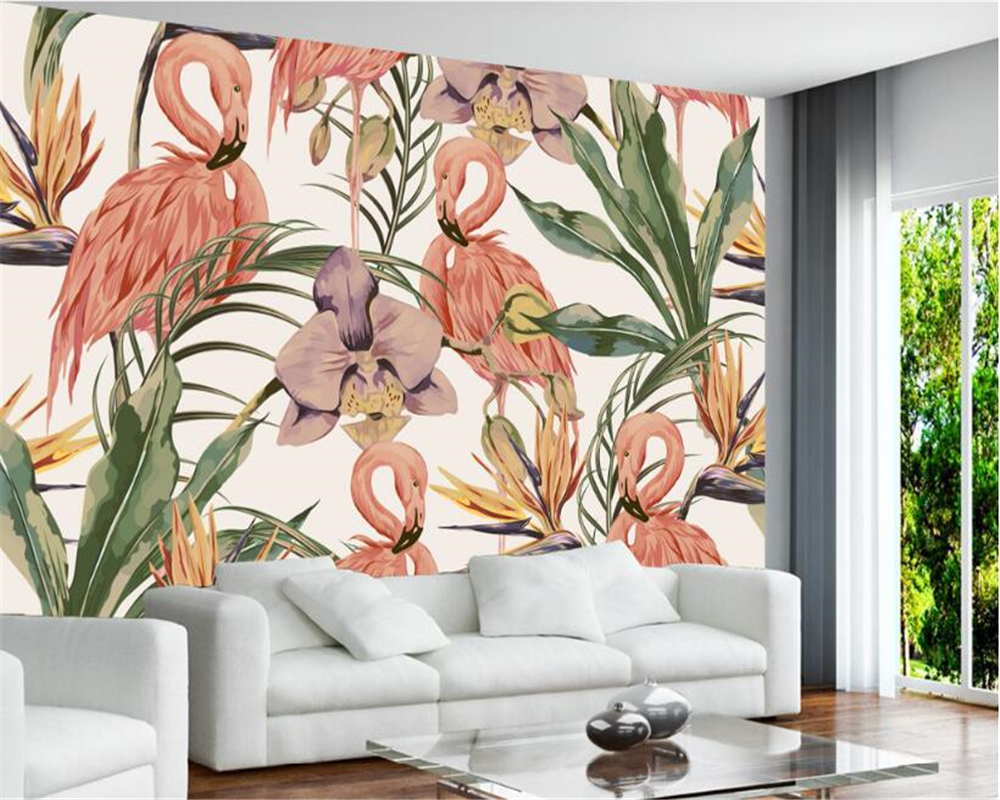 Modern fashion classic wallpaper simple hand painted tropical rain forest flamingo wallpaper murals background Beibehang in Wallpapers from Home Improvement