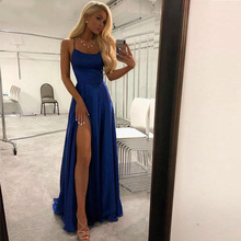 купить Simple but Elegant Design Satin Dress Spaghetti Straps Prom Gowns 2019 Royal Blue High Slit Evening Prom Dresses Long по цене 6447.99 рублей