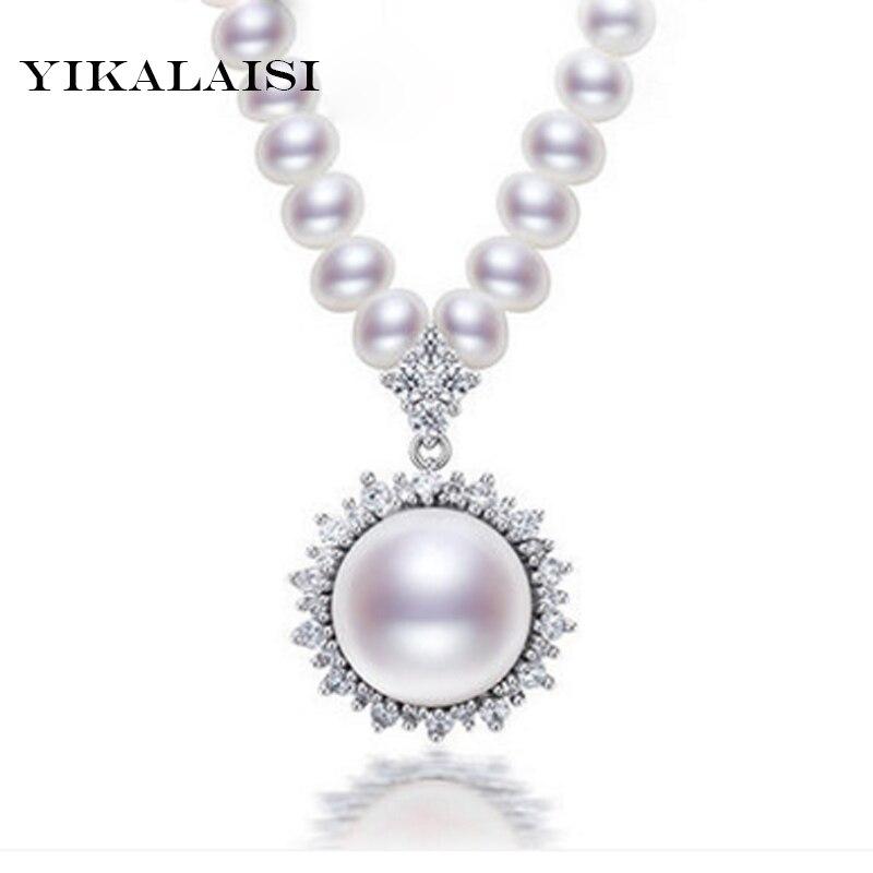 YIKALAISI 2017 100% collier de perles d'eau douce naturelles 925 bijoux en argent sterling zircone filles/mère/meilleurs cadeaux 4-5mm/10-11mm