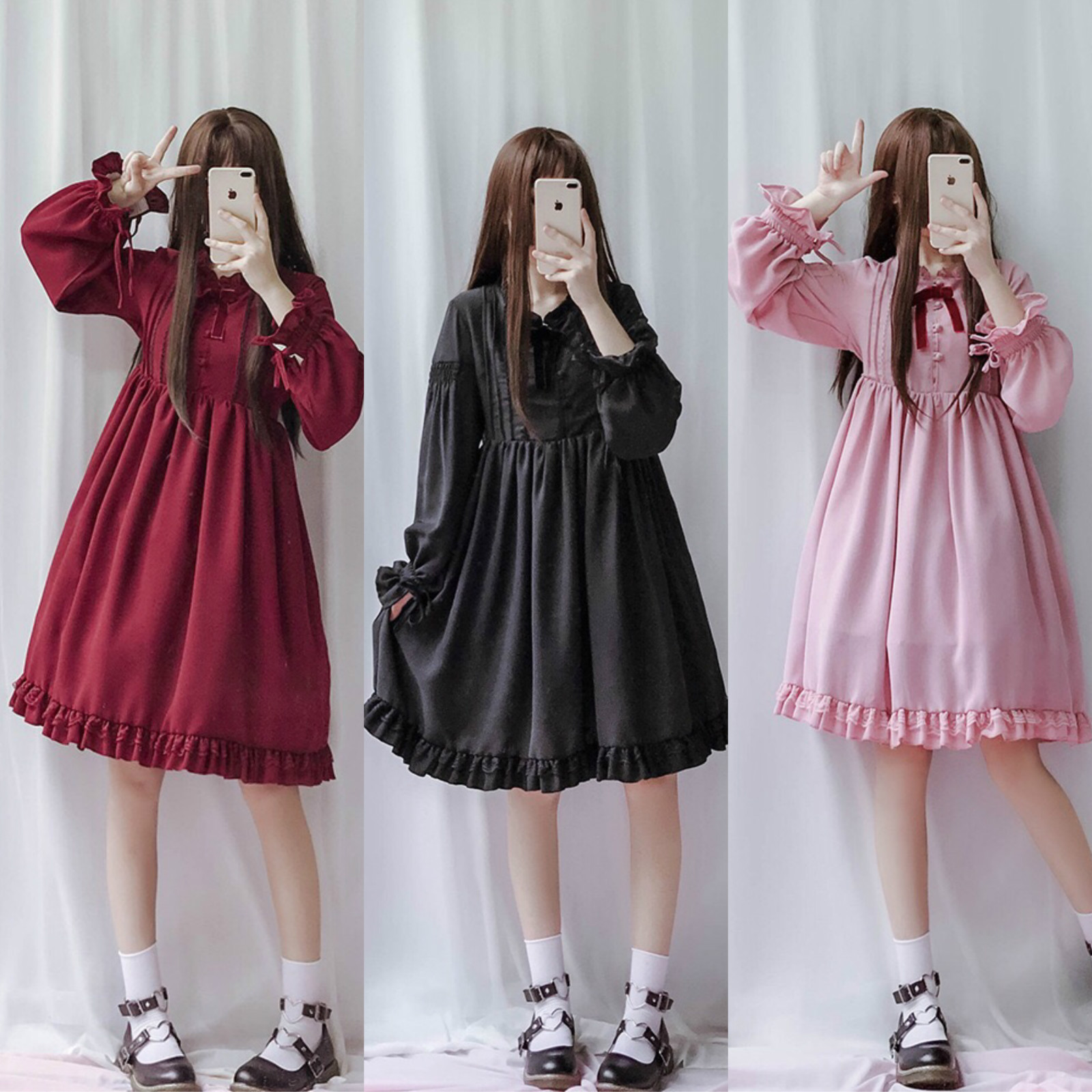 2019 Japanese Soft Sister Red Dress For Female Mori Girl Vintage Lantern Sleeve Long Sleeve Lace Dresses Lolita Bow Doll Dress