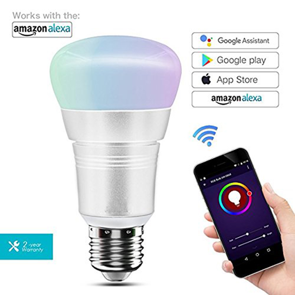 Wi-Fi Smart LED Bulb RGB Light 7W(60W Equivalent)APP Control Timing Function Compatible with Amazon Alexa&Google Assistant wi fi remote control smart bulb