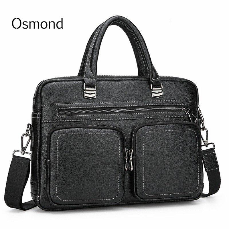 Men Briefcases PU Leather Handbag Vintage Laptop Briefcase Messenger Shoulder Bags Large Capacity Men's Bag Business Man Bag