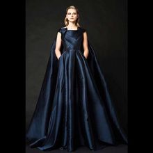 Scalloped A-Line Ruched Satin Long Evening Dresses 2015 New Floor Length Dark Royal Blue with Cloak KK1639