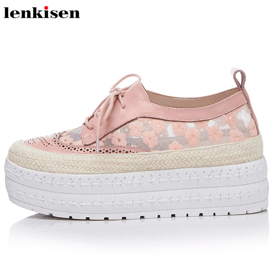Lenkisen streetwear round toe lace up cow leather solid causal shoes med heels embroider print women