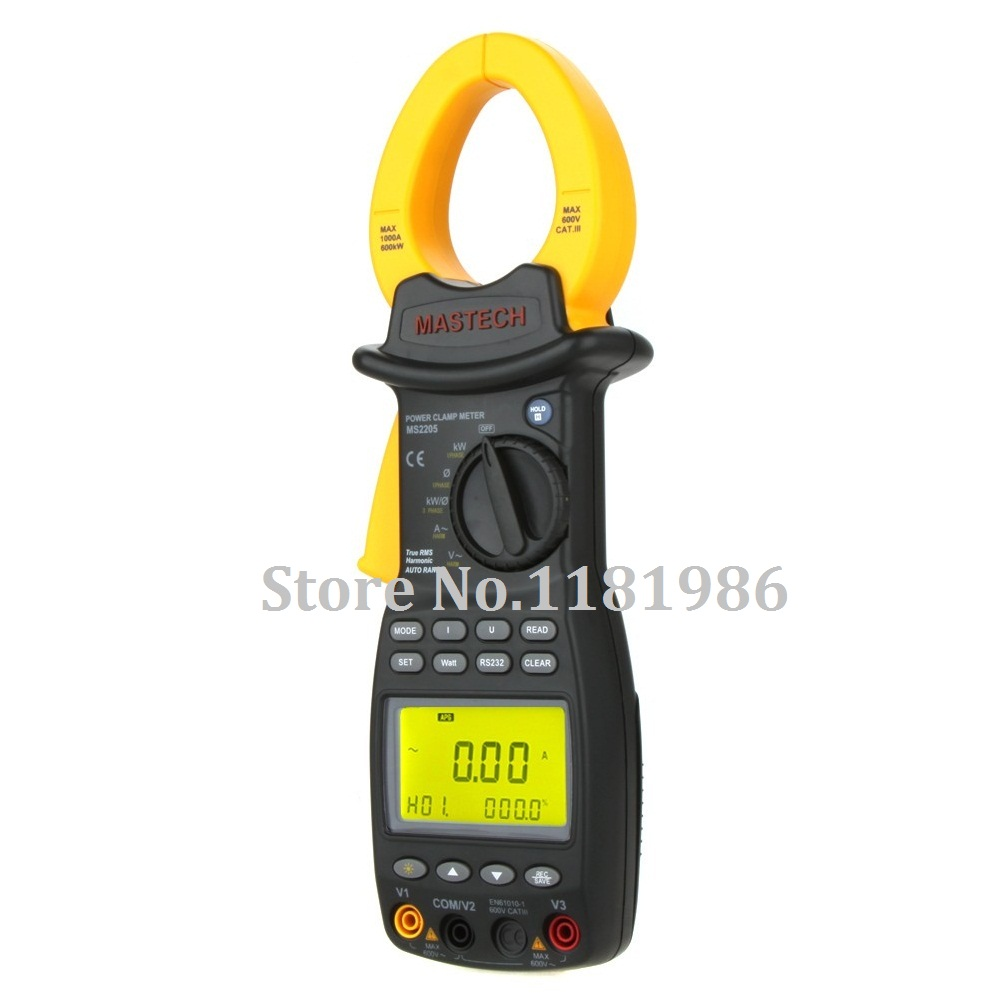 MASTECH MS2205 3 Phase TRMS Digital Energy Clamp Meter Power Factor Correction Meter Harmonic Tester V/A/W/VA/kVA/KVAR/Hz/kW/PF