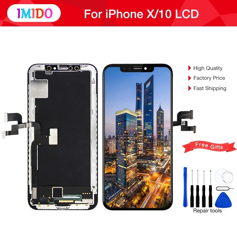 Noir TFT OLED LCD Remplacement Pour iphone X LCD Affichage 3D Digitizer Écran Tactile Assemblée 1:1 Parfaitement OEM Pour iphone 10 LCD