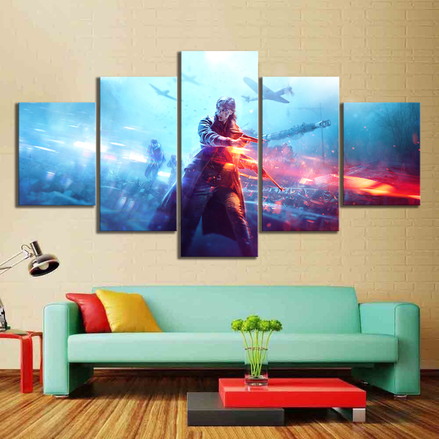 5 Piece HD Military Poster Battlefield 5 Video Game Canvas Art Wall Pictures for Living Room Decor 3
