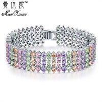 Moda Cyrkon Kamień Wielobarwne 5 Warstwy Bransoletka & Bangle Posrebrzane Charm CZ Kryształ Bransoletka Biżuteria dla Kobiet dziewczyny