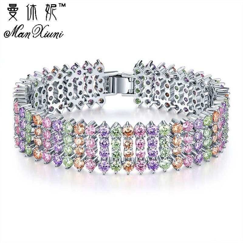 Pedra do Zircon da forma Multi-Cor 5 Camadas Bracelet & Bangle Banhado A Prata Charme CZ Jóia de Cristal Pulseira para As Mulheres meninas