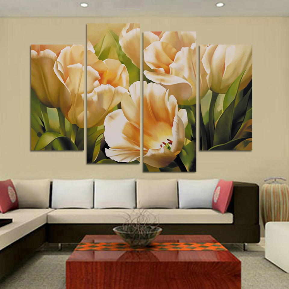 Wall art flower painting - Fashion 4 Panel Wall Art Oil Painting Tulip Flower Paintings Print Painting On Canvas Decoration For Living Room Pictures H109 In Painting Calligraphy