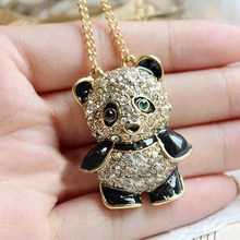 Hot! Fashion Panda With Rhinestone Necklace Panda Sweater Chain national Animals gifts Big promotion free shipping T1545