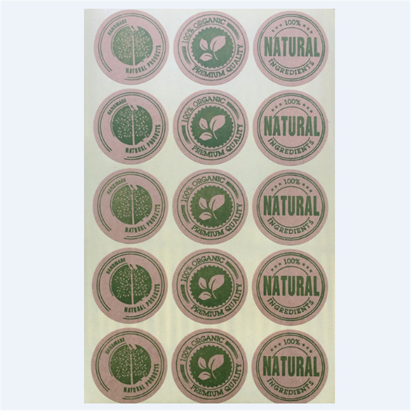 448 pcs 6720Pcs Kraft paper Circle ShapeNatural organic Handmade Cake Packaging Sealing Label Kraft Sticker Baking