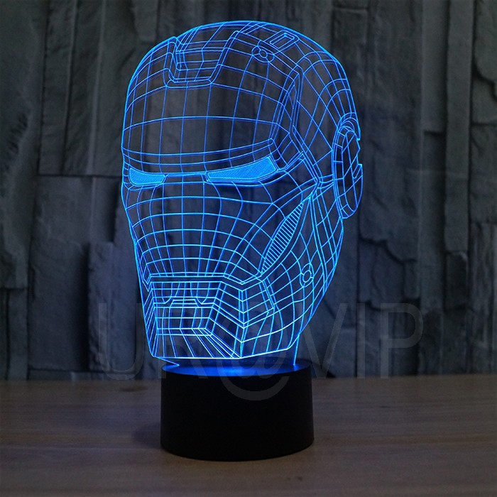 JC-2822 3D illusion iron man mask shape LED table lamp as gift free shipping  (5)
