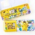 Caixa de lápis dos desenhos animados Pokemon Pikachu pencilcase Apoio da Régua apontador de lápis borracha material escolar Papelaria dom Boutique