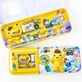 Cartoon pencil case Pokemon Pikachu pencilcase Supporting Ruler pencil sharpener eraser Boutique school supplies Stationery gift