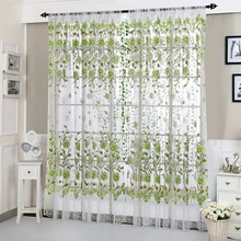 House Office Fashion Window Curtain Flower Print Divider Tulle Voile Drape Panel Sheer Scarf Valances casual poppy print voile scarf