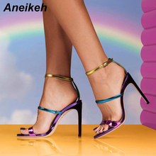 Aneikeh Sandals Multicolor PU Leather Stiletto Heel Ankle Strap Sandals