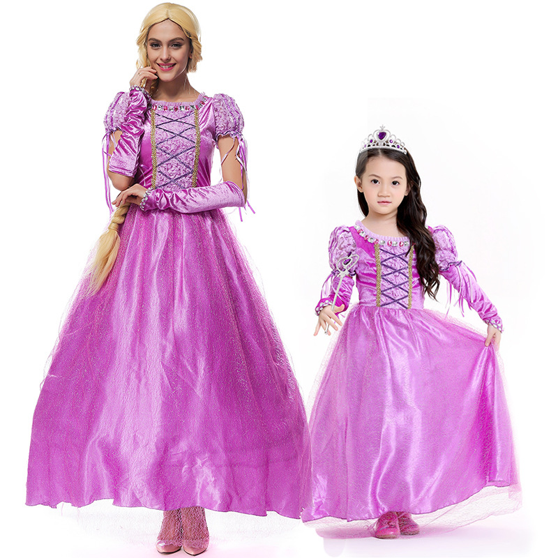 Adogirl Purple Princess Rapunzel Halloween Sexy M-XL Women Adult Party Costume Cosplay Fancy dress+gloves Carnival Dress