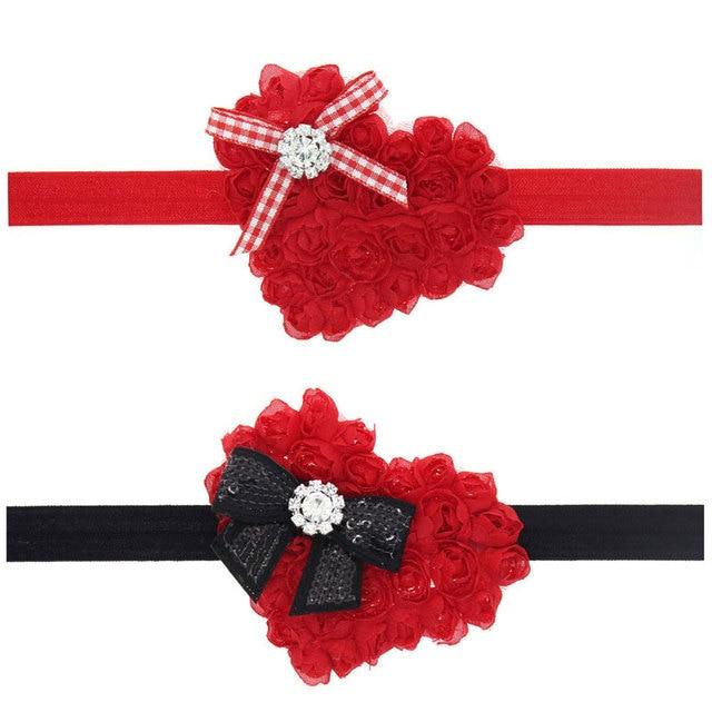 Naturalwell Child Hair Accessories Heart Shaped Rose Flower Headband Little Girls Christmas Headbands Bows Head
