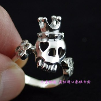 * Imported from Thailand, lovely girl 925 Sterling Silver exquisite cartoon crown skeleton Silver Ring
