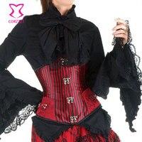 Women's Gothic Clothing Sexy Lingerie Stripe Buckle Underbust Corset Espartilho Shapewear Waist Trainer Cincher Corselet