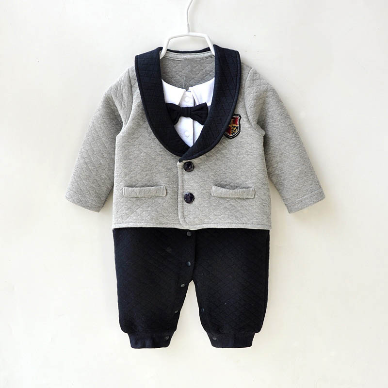 2018 Fashion Spring Autumn Baby Boy Grey   Romper   Bowtie One-Pieces Baby Boy Gentleman   Romper   Long Sleeve Baby Thick Warm Overalls