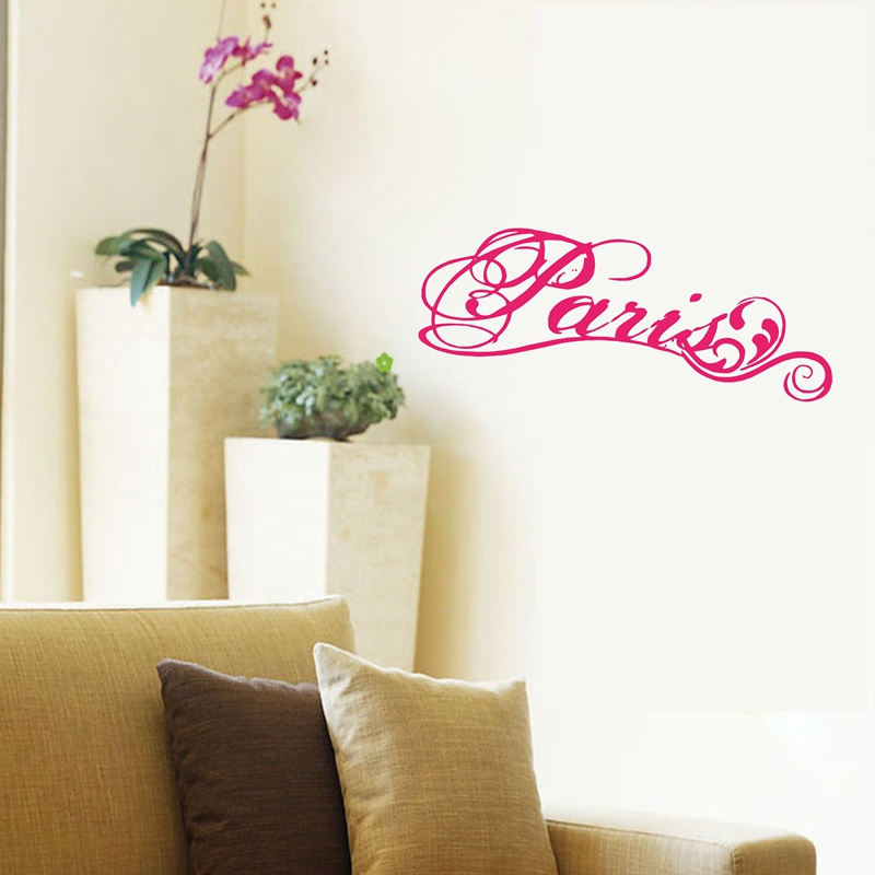 Paris fancy elegant wall decal vinyl wall stickers lettering word paris free shipping c3100 in wall stickers from home garden on aliexpress com
