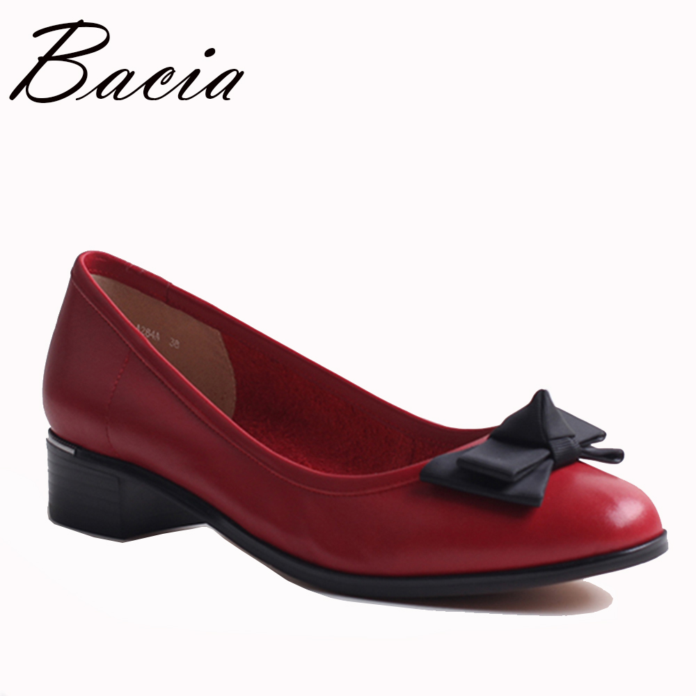 Bacia Spring Summer Genuine Leather shoes Women Round Toe Slip on Pumps Sapato feminino Patent Leather Casual Shoe 2017 VXB010