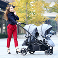 Hot Mom High Quality Twin Baby Stroller Reclining Shockproof Double Stroller Multifunctional Folding Portable Pram twins C01