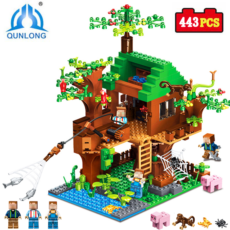 New Legoings Building Blocks Toy my world Designer design Action Figures Fish Tree House City Enlighten Brick Boy Girl Toys qunlong toys compatible legos minecraft city model building blocks diy my world action figures bricks educational boy girl toy