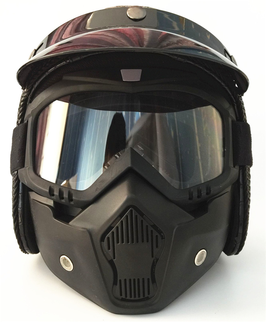 black Open Face Half Leather Helmet Moto Motorcycle Helmets vintage Motorbike Headguard Casque Casco For Harley helmet