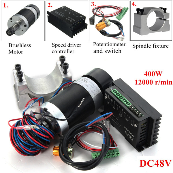 400W 12000rpm ER11 Chuck CNC Brushless Spindle Motor  DC Machine Tool with Driver Speed Controller and Clamp400W 12000rpm ER11 Chuck CNC Brushless Spindle Motor  DC Machine Tool with Driver Speed Controller and Clamp