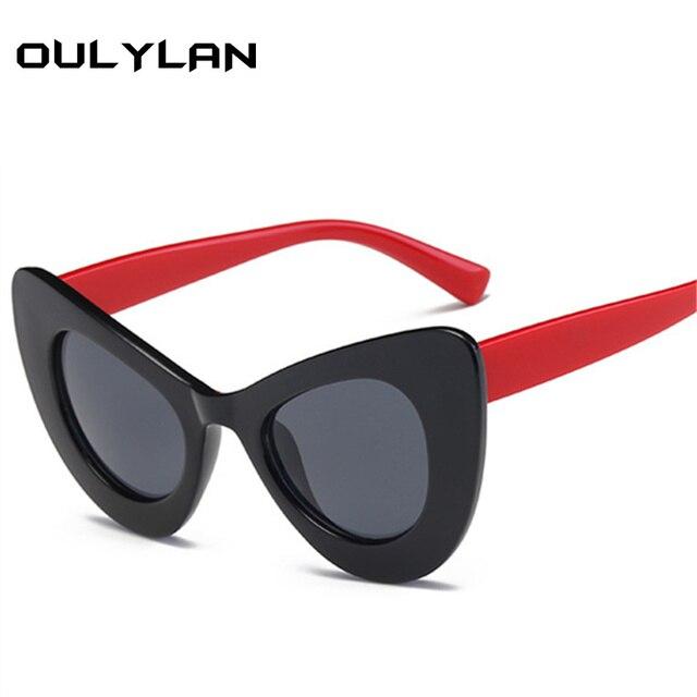 3c898b059c Oulylan Retro Cat Eye Sunglasses Women wild Tortoiseshell Sunglasses Female  Street Shooting Glasses UV400 Thick Frames