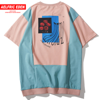 Aelfric Eden Color Block Cotton Tee Shirt Men 2019 Summer Streetwear Half zipper Collar Harajuku Short Sleeve Hip Hop T shirts