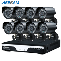 Super 3MP HD 8 Channel Surveillance 1920P Home Black Metal Small Bullet Security Camera H.264 DVR Outdoor 8CH CCTV System Kit