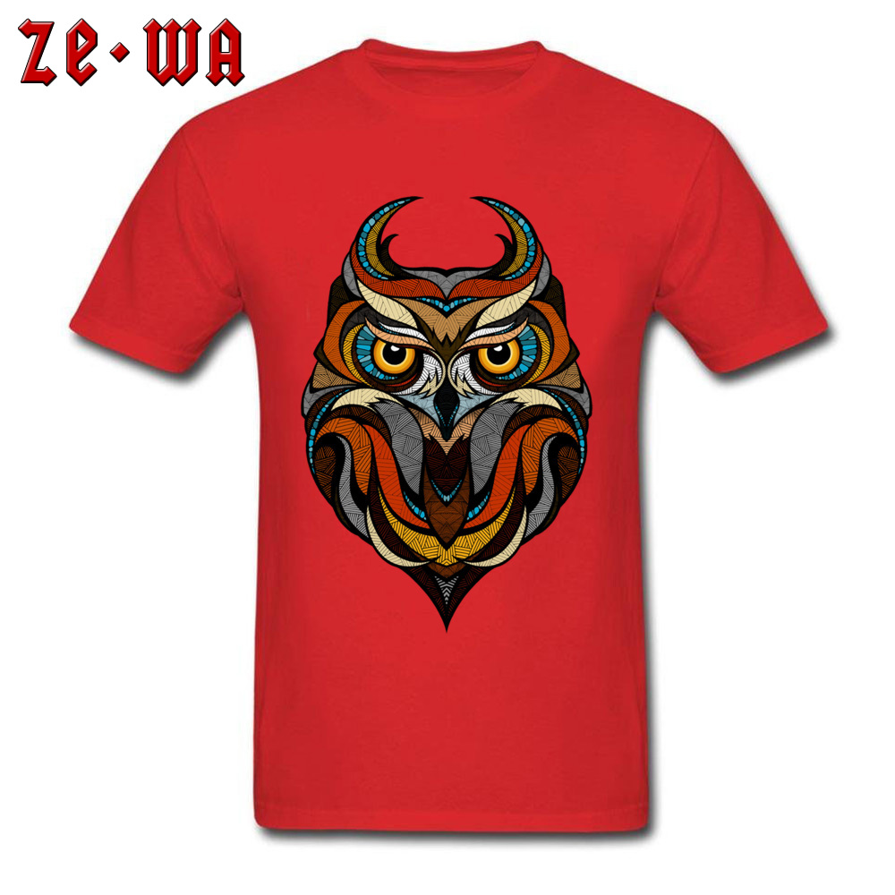 Customized Decorative Owl Mens T-Shirt 2018 Summer Short Sleeve Crewneck 100% Cotton Tops T Shirt Printing Tops T Shirt Decorative Owl  red