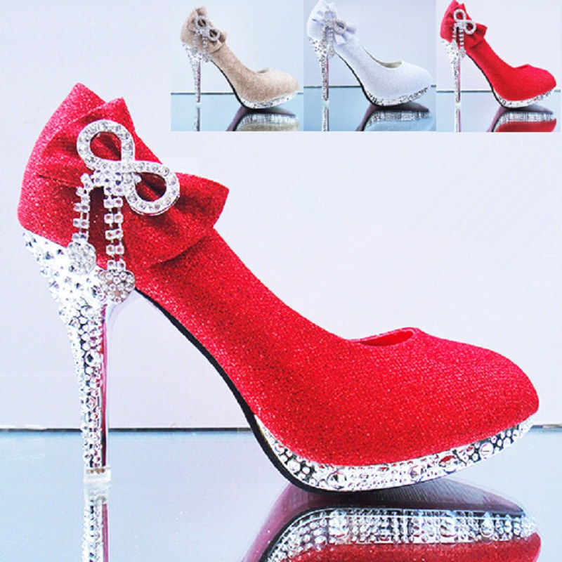 2015 Butterfly Knot Diamond Women Bridal Shoes High Heels Royal Stiletto Golden Shoes Wedding Shoes For