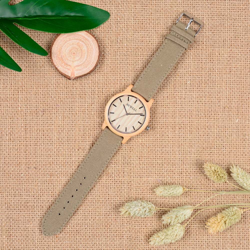 BEWELL Bamboo Wood Watch Analog Digital For Men 50