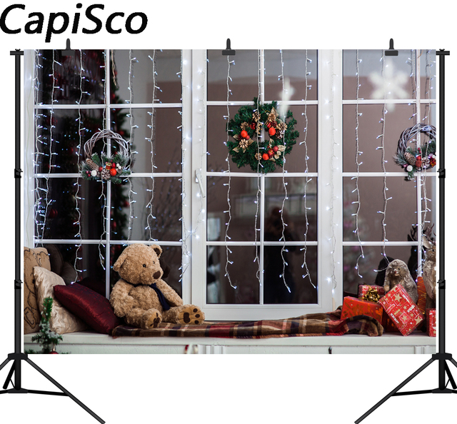 Capisco Christmas Window Teddy Bear Light Bulb Wreath Photography Backgrounds Customized Photographic Backdrops For Photo Studio