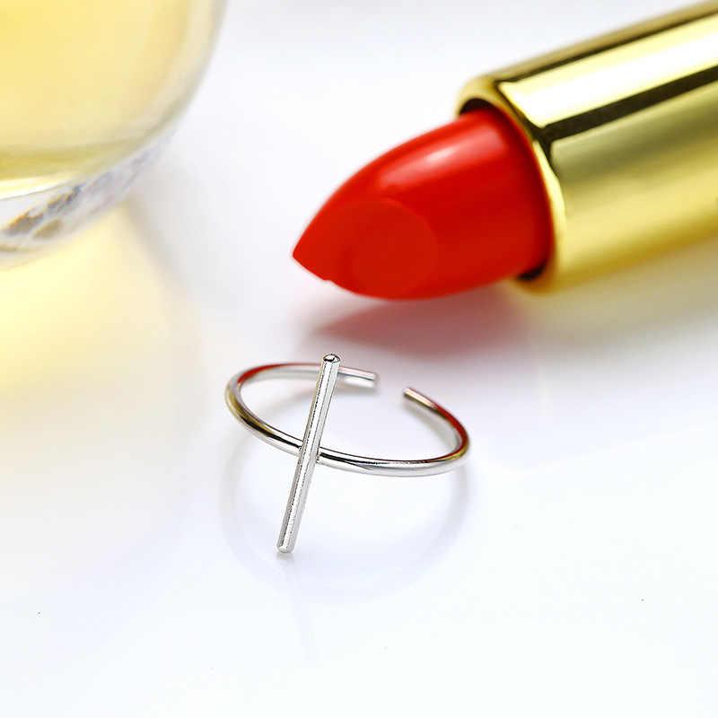 INZATT Minimalist pürüzsüz iç içe yüzük 100% 925 ayar gümüş kadınlar için doğum günü düğün güzel takı Anillos Mujer hediye
