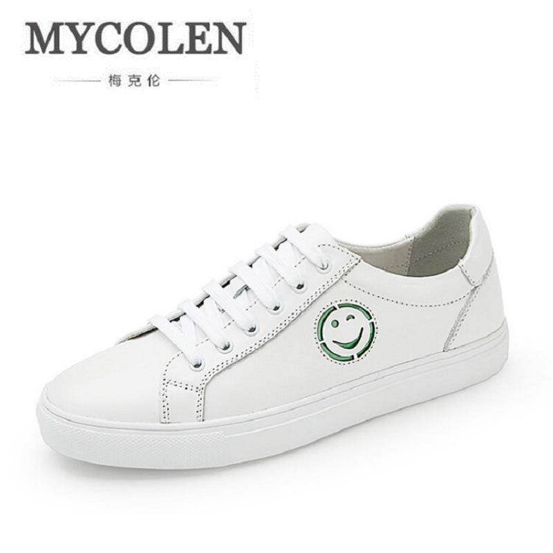 MYCOLEN 2017 New Spring Autumn Men Casual White Shoes Breathable Black Lace-Up Board Shoes High Quality Men Flats Shoes klywoo new white fasion shoes men casual shoes spring men driving shoes leather breathable comfortable lace up zapatos hombre
