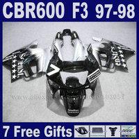 white fairing kits for Honda 1998 CBR600 F3 1997 CBR 600 F3 97 98 ABS black motorcycle fairings Tank cover