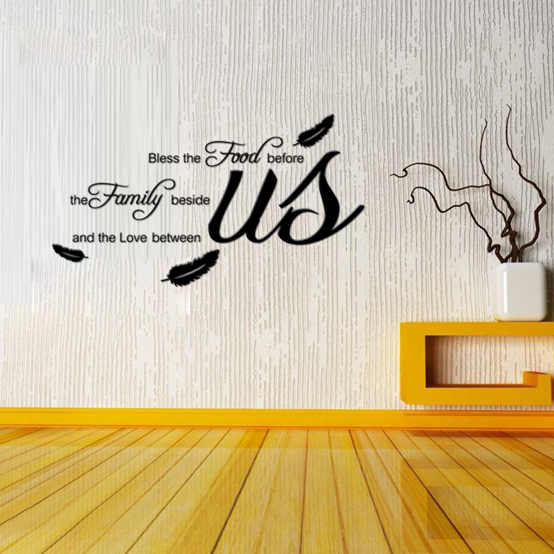 AW9114 Bless The Food Family Love Religious Dining Room Vinyl Wall Decal Quote Stickers Mural Art